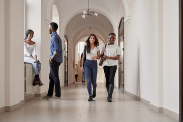 Multiracial happy group of students taking rest together