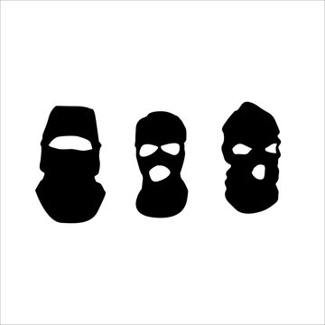 A set of masks concealing faces. Textile protective mask vector. Law enforcement or masked protesters