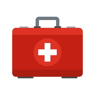 First aid kit icon. Flat illustration of first aid kit vector icon for web design