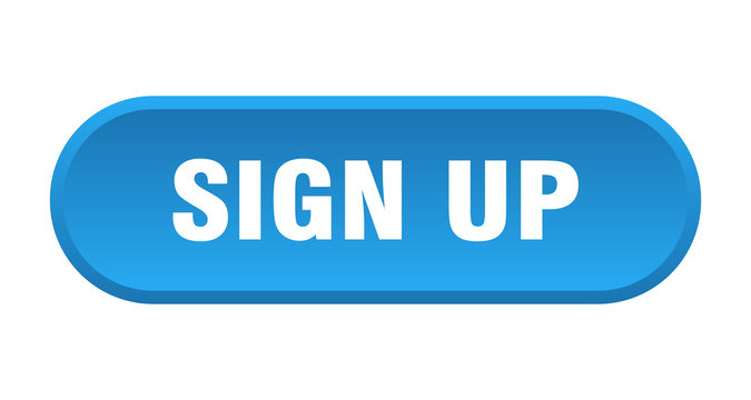 sign up button. sign up rounded blue sign. sign up