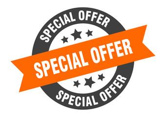 special offer sign. special offer orange-black round ribbon sticker