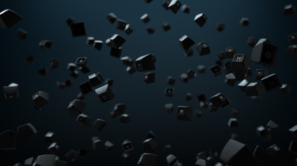 Isolated Computer Keyboard Keys Falling in a Slow Motion backdrop