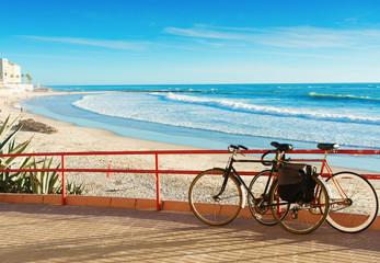Bicycles on the beach Santa Maria del Mar in Cadiz, Spain, Andalusia