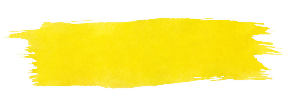 Yellow stroke of watercolor paint brush isolated on white background