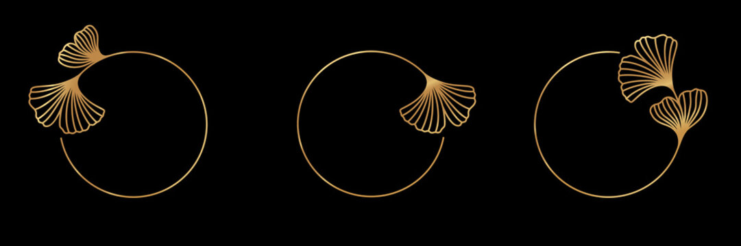 Set Ginkgo Biloba Leaf gold frame badge and icon in trendy linear style - Vector Logo Emblem of gingko