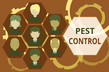 Conceptual hand writing showing Pest Control. Concept meaning analysisagement of a species that impacts adversely on huanalysis Picture frames CEO and staff Organization employee structure