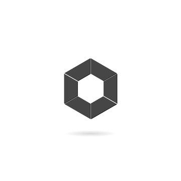 Hexagon icon isolated on white background