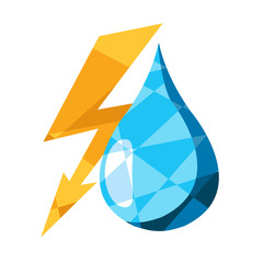 Lightning and a drop of water in the polygonal style logo
