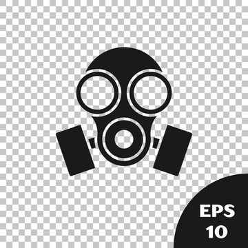 Black Gas mask icon isolated on transparent background. Respirator sign. Vector Illustration