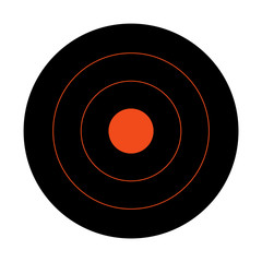 Black circular shooting target for the practice on a rifle range.