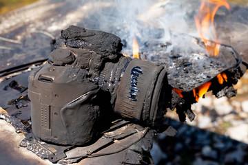 Digital camera is on fire