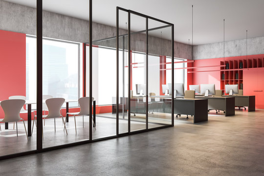 Loft red conference room interior and open space