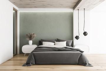 White and gray minimalistic bedroom interior