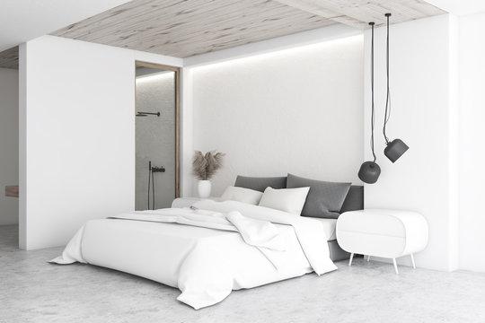 White luxury bedroom interior with bathroom