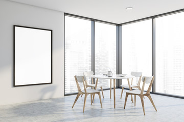 Panoramic white dining room, round table, poster