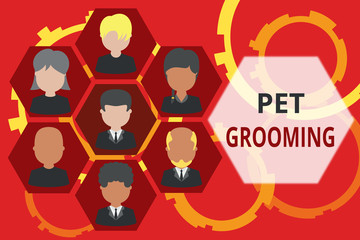 Conceptual hand writing showing Pet Grooming. Concept meaning hygienic care and enhancing the appearance of the pets Picture frames CEO and staff Organization employee structure