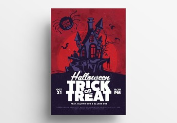 Halloween Illustrative Flyer Layout with Haunted House