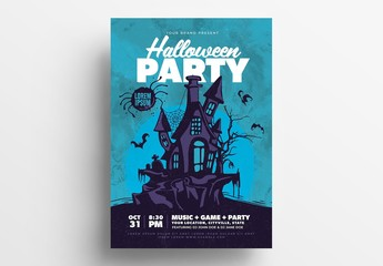Halloween Party Illustrative Flyer Layout