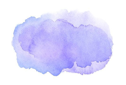 Watercolor purple brush stroke with stains isolated on white background