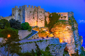 Erice,  Sicily, Italy: Night view of the Venere Castle, a Norman fortress