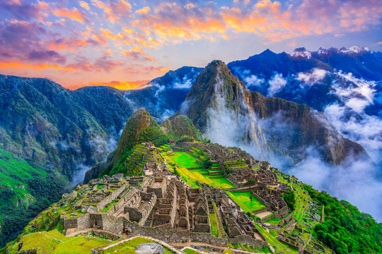 Machu Picchu, Cusco,Peru: Overview of the lost inca city Machu Picchu with Wayna Picchu peak, before sunrise