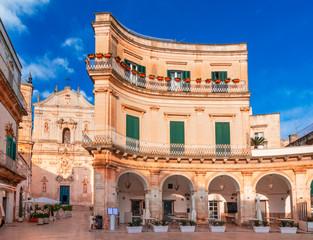 Martina Franca, Puglia, Italy: Night view of the Piazza Plebiscito and the Cathedral st. Martin