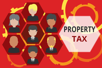 Conceptual hand writing showing Property Tax. Concept meaning an ad valorem tax on the value of a property Millage rate Picture frames CEO and staff Organization employee structure