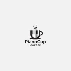 piano cup logo template. coffee icon vector