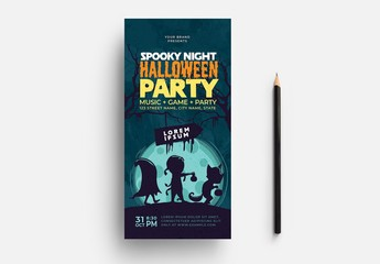 Teal Halloween Party Flyer Layout with Illustrative Elements