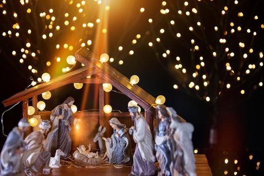 Christmas nativity scene; Jesus Christ, Mary and Joseph
