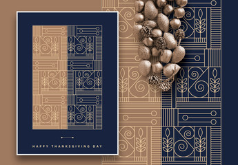 Art Deco Thanksgiving Greeting Card Layout