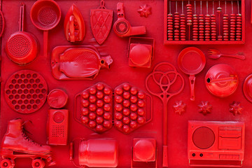 Set of household items of the 20th century, retro collection on the red wall