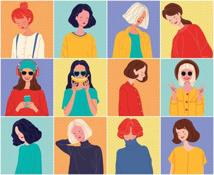 Diverse women faces background, women different style