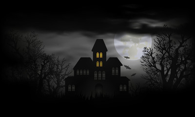 Haunted house with full moon and bats at Halloween night