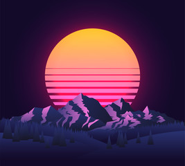 Abstract image of a sunset, the dawn sun over the mountains landscape in the background and trees in the foreground. Vintage futuristic 90's sun. Mountain landscape. Vector illustration.