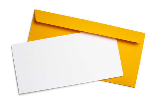 Blank white paper on a yellow envelope, isolated on white background