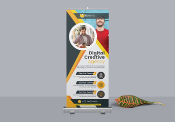 Corporate Roll Up Banner with Circular  Photo Elements