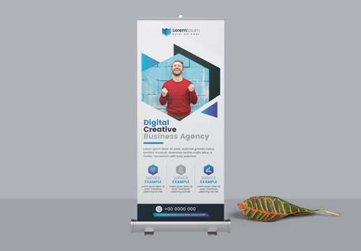 Roll Up Banner with Blue Geometric Photo Elements