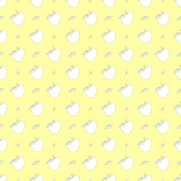 seamless pattern with apples and sheets on yellow bg