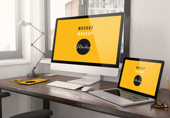 Digital Devices on Desk Mockup