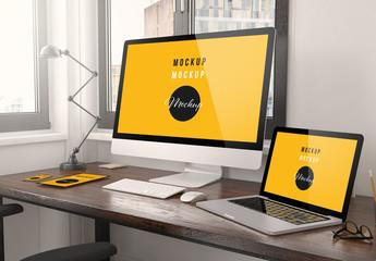 Digital Devices on Desk Mockup