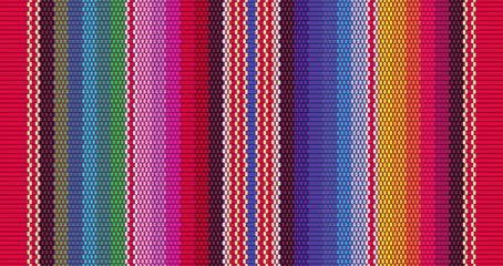 Photo sur Toile Style Boho Blanket stripes seamless vector pattern. Background for Cinco de Mayo party decor or ethnic mexican fabric pattern with colorful stripes. Serape design
