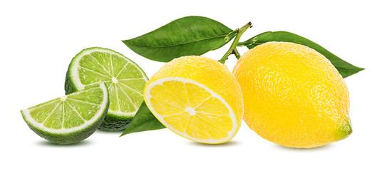 Fresh lemon and lime  isolated on white background