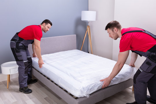 Young Male Movers Placing The Mattress Over The Bed