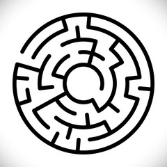 Vector simple black maze circle. Simple black labyrinth. Vector maze symbol. Labyrinth isolated on white background. Abstract decoration design. Modern geometric background. Symbol of education game.