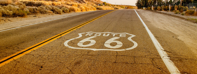 Wall Murals Route 66 Historic Route 66 with pavement sign in California, USA