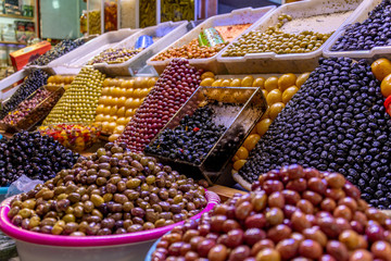 Colorful olives on beautiful display in Morocco market
