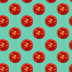 Seamless pattern with tomato slices on a green mint background. Modern style concept