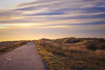 Straße an den Dünen an der Nordseeküste
