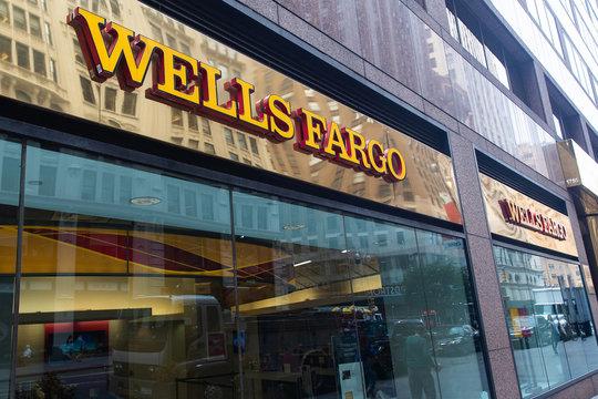 New York, New York/USA - September 16, 2019: Wells Fargo bank sign in midtown Manhattan